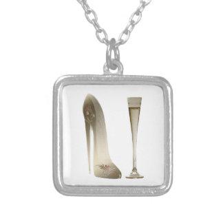 Stiletto Shoe High Heel Art and Champagne Flute Pendant