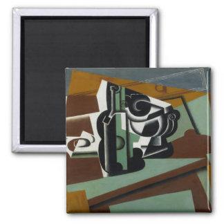 Still Life, 1917 (oil on panel) Square Magnet
