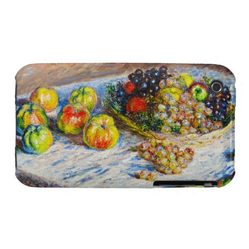 Still Life - Apples and Grapes Claude Monet iPhone 3 Case