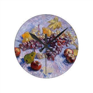 Still Life: Apples, Pears, Grapes - Van Gogh Wall Clocks
