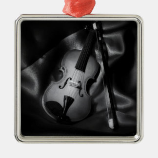 Still-life b&W image of a violin Metal Ornament