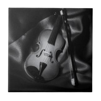 Still-life b&W image of a violin Small Square Tile