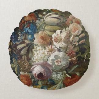 Still life bouquet of flowers round cushion