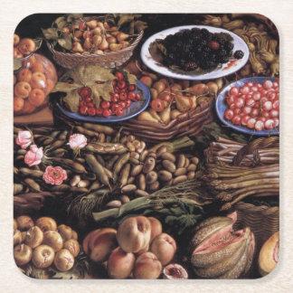 Still Life by Vincenzo Campi Square Paper Coaster