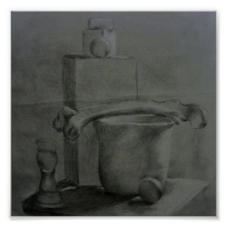 Still Life Charcoal Study Poster