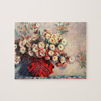 still life chrysanthemums by Claude Monet Jigsaw Puzzle