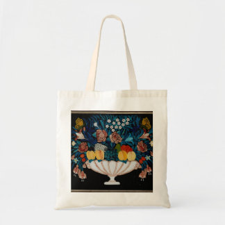 Still Life—Flowers and Fruit in White and Pink Bow Tote Bag