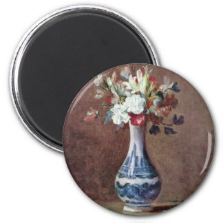 Still Life Flowers In A Vase By Chardin Jean-Bapti Magnet