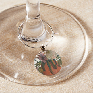 Still Life Flowers In Vase Watercolor Wine Charm