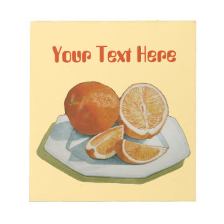 Still life fruit segments orange original art notepad