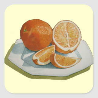 Still life fruit sliced orange realist art sticker