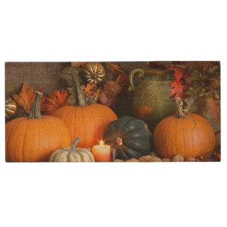 Still Life Harvest  Decoration For Thanksgiving Wood USB 2.0 Flash Drive