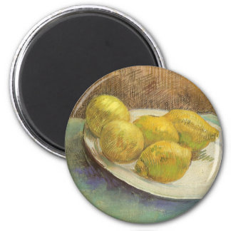 Still Life Lemons on a Plate by Vincent van Gogh 6 Cm Round Magnet