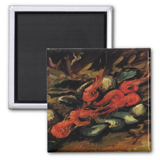 Still Life Mussels and Shrimp by Vincent van Gogh Square Magnet