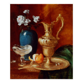 Still life of a gilt ewer, vase of flowers posters