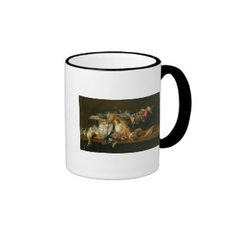 Still life of dead birds and a hare on a table mugs