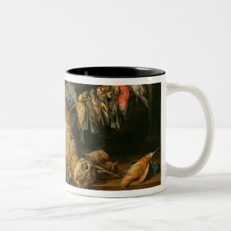 Still life of dead birds and a hare on a table Two-Tone coffee mug