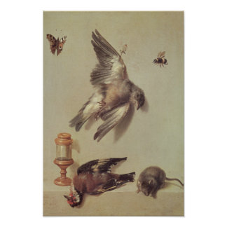 Still Life of Dead Birds and a Mouse, 1712 Poster