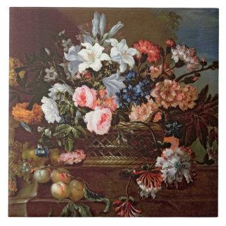 Still Life of Flowers in a Basket Ceramic Tile