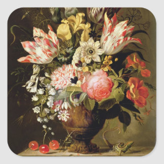 Still Life of Flowers in a Vase with a Lizard on a Square Sticker