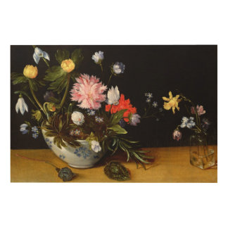 Still Life of Flowers Wood Canvas