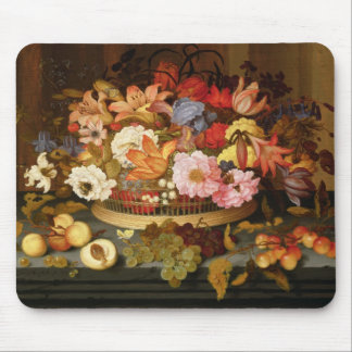 Still Life of Fruit and a Basket of Flowers Mouse Pad