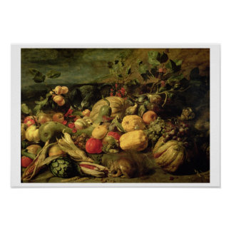 Still Life of Fruits and Vegetables (oil on panel) Poster