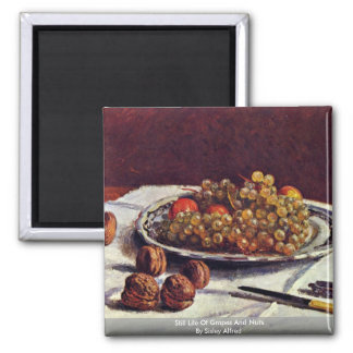Still Life Of Grapes And Nuts By Sisley Alfred Refrigerator Magnet