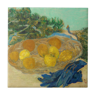 Still Life of Oranges and Lemons with Blue Ceramic Tile