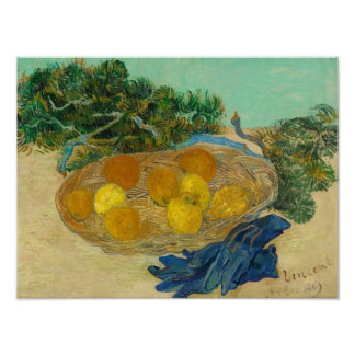 Still Life of Oranges and Lemons with Blue Poster