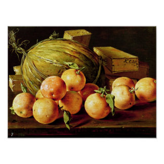 Still Life of Oranges, Melons and Boxes Poster