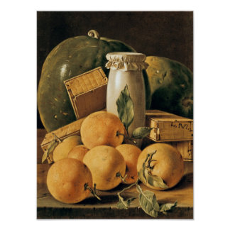 Still Life of Oranges, Watermelon Poster