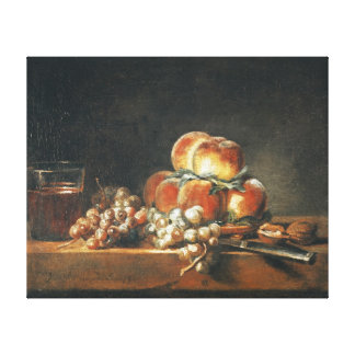 Still Life of Peaches, Nuts, Grapes Canvas Print