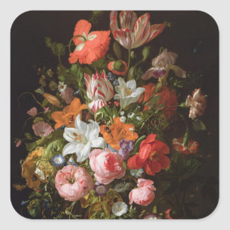 Still life of roses  lilies, tulips square sticker
