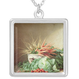 Still Life of Strawberries, Carrots and Cabbage Silver Plated Necklace