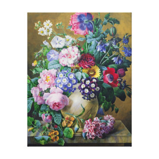 Still Life of Summer Flowers Gallery Wrapped Canvas