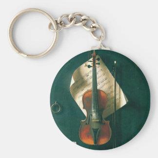 Still Life Old Violin, Harnett, Vintage Victorian Key Chains