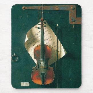 Still Life Old Violin, Harnett, Vintage Victorian Mousepads