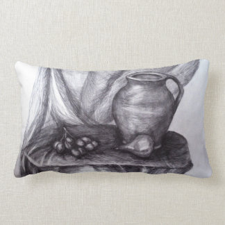 Still Life Pencil Drawing Classic Lumbar Pillow