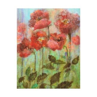 Still Life Poppies In Pastel Red Canvas Print