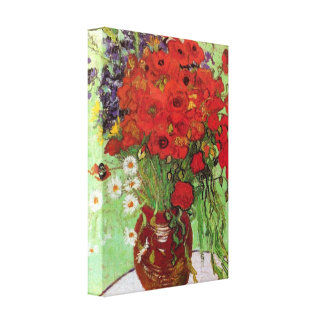 Still Life Red Poppies and Daisies by van Gogh Canvas Prints
