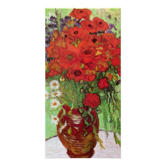 Still Life Red Poppies and Daisies by van Gogh Picture Card