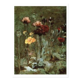 Still Life Scabiosa, Ranunculus, Van Gogh Fine Art Postcard