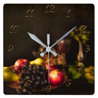 Still life square wall clock