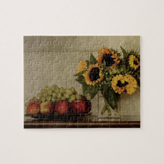 Still Life, Sunflowers in Vase, Fruit in Bowl Jigsaw Puzzle