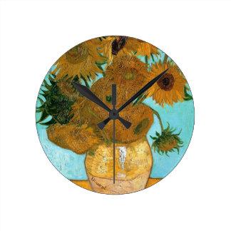 Still Life: Sunflowers - Vincent van Gogh Wall Clocks