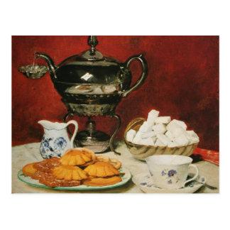 Still life Tea and Melting rolls - Albert Anker Postcard