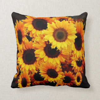 Still Life Umber Yellow Sunflower Painting Throw Pillow