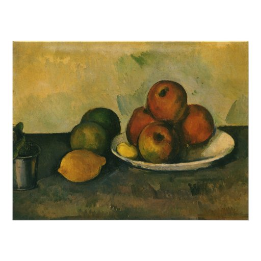 Still Life w Apples by Cezanne, Impressionism Art Poster