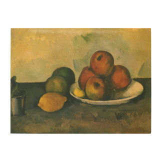 Still Life w Apples by Cezanne, Impressionism Art Wood Canvases